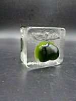 Chunky Mid Century Art Glass Green Apple Ice Cube Paperweight Iittala?