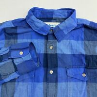 Urban Pipeline Button Up Shirt Men's Size Large Long Sleeve Navy Blue Plaid