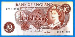 England B295 10s QEII JQ HOLLOM 1st Portrait C Series Prefix # 27N 4.4.1963 aXF