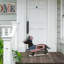 Glitzhome Metal Wooden Patriotic Double Sided Home/Welcome Dachshund Home Decor
