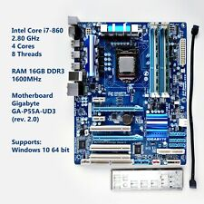 Intel Core i7 860, 16GB RAM, Gigabyte GA-P55A-UD3, IO Shield, Supports Windows10