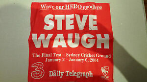 STEVE WAUGH SIGNED FINAL TEST 2004 COMMEMORATIVE RED HANKY