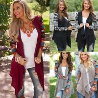 Women Boho Long Sleeve Waterfall Cardigan Knit Knitwear Outwear Coat Jumper Tops