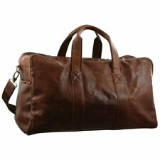 Pierre Cardin Rustic Leather Travel Bag Overnight Business Duffle Tote - Chestnu