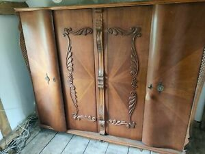 French Antique Wardrobe, large, 4 Door, Mahogany & Veneer, Beautiful, Lock & Key