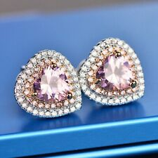 3.90 CT Heart Pink Sapphire & Diamond Halo Stud Earrings 14Carat White Gold Over