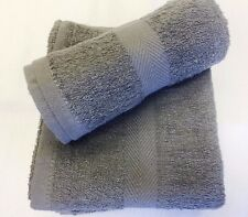 24 NEW GRAY SALON HAND TOWELS DOBBY BORDER RINGSPUN 100% COTTON 16X27 3LBS