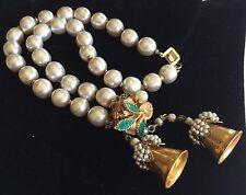 Vintage Miriam Haskell 2 Strand Bell Tassle Bracelet~Pearls/Enamel/Gilt Filigree
