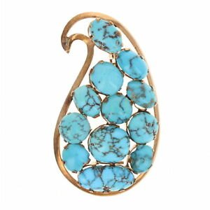 Turquoise Paisley Brooch - 12k Rose Gold Cabochons with Matrix