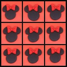 12 x Edible Fondant Minnie Mouse ears bows RED cake Cupcake Toppers decoration