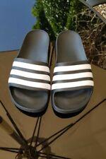 ADIDAS Kids Junior Boys Black & White Sliders Sandals Shoes Size UK 2 EU 34 VGC