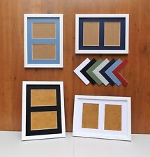"Narrow Brushed White Photo/Picture Frame with Double 6x4/4x6""Aperture Mount"