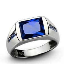 Mens Blue Sapphire Ring Real Gemstone Solid 925 Sterling Silver Turkish Ring