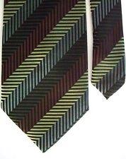 """Adolfo Men's Silk Striped Neck Tie Brown 4"""" x 58"""""""