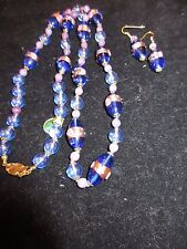 Murano Glass Necklace and Earring Set Made in Italy Blue Pink Painted Floral