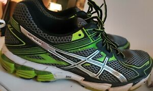 Asics Mens GT-1000 T3RON Black Green Running Shoes Lace Up Low Top Size 12