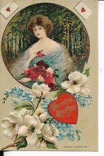 EARLY VALENTINES CARD FEMALE PORTRAIT AND FLORALS EARLY 1900S