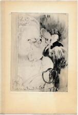 """Louis LEGRAND La Loge 1911 Pointe sèche originale Gazette Beaux-arts """"Les Bars"""""""