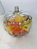 Anchor Hocking Clear Pumpkin Canister Jar Candy Dish