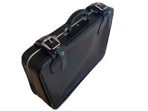 Travel Suitcase vintage / retro black faux leather case 60 x 45 x 18.5 cm.
