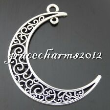 13x Vintage Silver Alloy Hollow Moon Crescent Pendants Findings Charms 50473