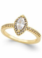 Gold Tone Marquis Cut Faux Diamond Ring ~ Size 7 ~ STUNNING!