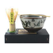 "Japanese ""KARATSU"" Tea Ceremony Matcha Bowl, Spoon/Whisk Set With Gift Box"