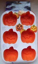 Wilton Silicone Muffin 6 Cavity Cupcake Treat Pan Jack-O-Lantern Pumpkins NEW