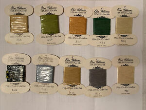 Elsa Williams 7 Ply 100% Silk Embroidery Thread ~Pack of 10 Cards