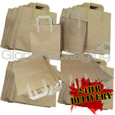 """250 LARGE KRAFT PAPER CARRIER SOS BAGS 10x5.5x12.5"""" BROWN TAKEAWAY FOOD PARTIES"""