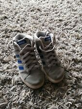 Junior Adidas Neo Grey & blue Stripe Hi Tops trainers - Size 1