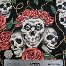 Alexander Henry ROSE TATTOO Skulls and Roses in Tea & Black by the Yard