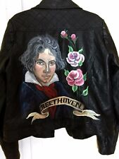 Hand Painted Vegan Leather Moto Jacket - Beethoven - Medium - Classical Music