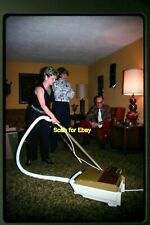Woman w/ Vacuum Cleaner in Retro Home in 1970's, Original Photo Slide aa 4-14a