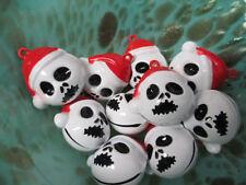 CHRISTMAS SKULL Bell PENDANTS Charms - lot of 20 Skeleton Holiday Skelington New