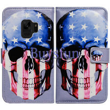 Bcov Amerian Flag Skull Leather Wallet Cover Case For Samsung Galaxy S9 Plus/+