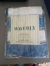 """Waverly Amanda Curtain Valance Melrose Stripe Blue 79"""" x 16"""" Shabby Cottage NEW"""