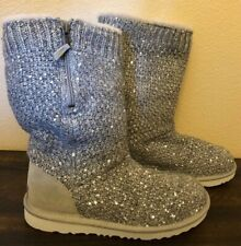 UGG SEQUIN KNIT GRAY / SILVER BOOT YOUTH SIZE 5 / Fits women 6-7 $129
