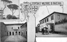 9153) OSPEDALE MILITARE DI RAVENNA 3 VEDUTINE AMBULANZA A CAVALLI.