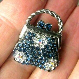 Vintage Scatter Sweater Pin Blue Rhinestone Encrusted Purse Handbag Daisy Floral