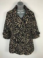 WOMENS MISO BROWN ANIMAL PRINT BUTTON UP WINTER CASUAL JACKET OVER COAT SIZE 12