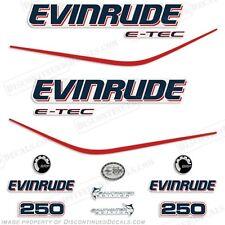 Evinrude 250hp E-Tec Outboard Decal Kit - 2004 2005 2006 2007 2008
