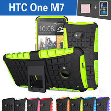 TPU Case Cover For New HTC One M7 Silicone Shockproof Heavy Duty With Kickstand