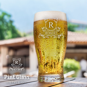 Personalised Pint Glass Laser Engraved Beer Glass Any Text Drinkware Gift