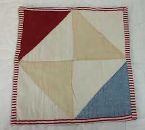 Antique Vintage Patchwork Quilt Mini Table Topper Or Doll Crib Quilt, Bow Tie
