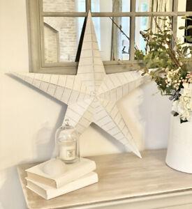 Large 52cm White Distressed Ridged Lucky Amish Barn Star Wall Decor 3D Art