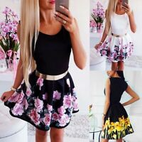 Women Sleeveless Floral Mini Dress Ladies Holiday Casual Slim Fit Dresses Party