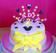 Mickey, minnie  mouse style birthday cake topper, personalised name, age, colour