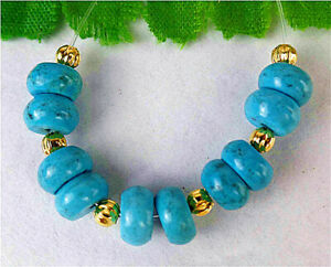 7x4mm 10Pcs Blue Turquoise Height Hole Abacus Bead AP11103
