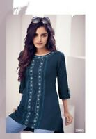 Women Fashion Indian Short Kurti Tunic Kurta Top Shirt Dress Rayon Navy Blue